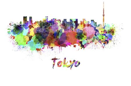 東京スカイライン水彩飛び散っ 写真素材