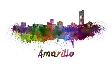 Amarillo skyline in watercolor splatters Stock Photo