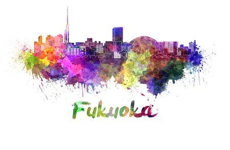 Fukuoka skyline in watercolor splatters