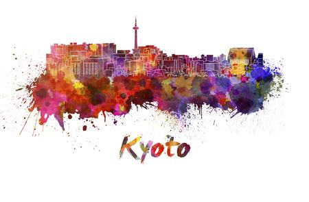 kyoto: Kyoto skyline in watercolor splatters