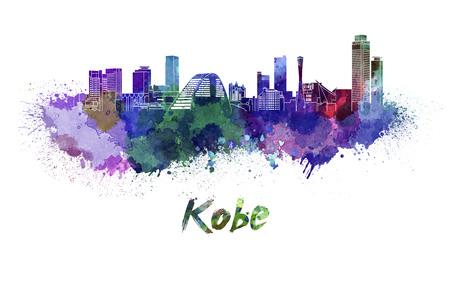 kobe: Kobe skyline in watercolor splatters