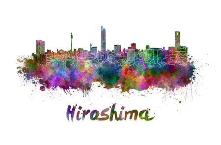 hiroshima: Hiroshima skyline in watercolor splatters