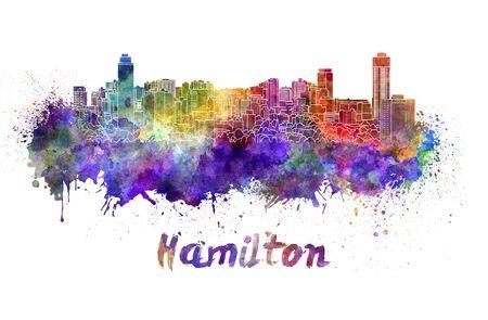 hamilton: Hamilton skyline in watercolor splatters