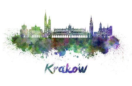 krakow: Krakow skyline in watercolor splatters