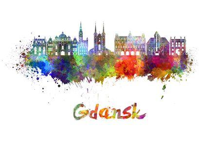 gdansk: Gdansk skyline in watercolor splatters Stock Photo