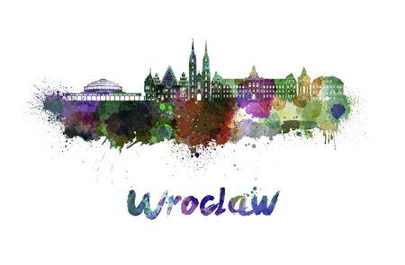 wroclaw: Wroclaw skyline in watercolor splatters