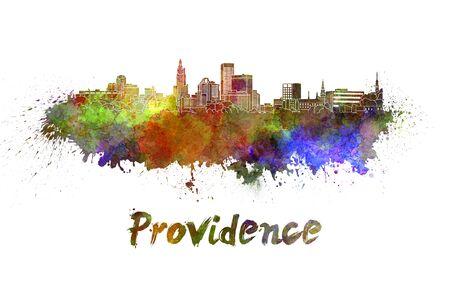 providence: Providence skyline in watercolor splatters Stock Photo