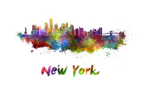new york skyline: New York skyline in watercolor splatters