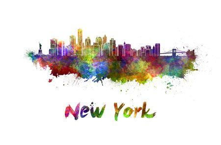 new york skyline: New York skyline in watercolor splatters