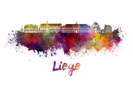 liege: Liege skyline in watercolor splatters