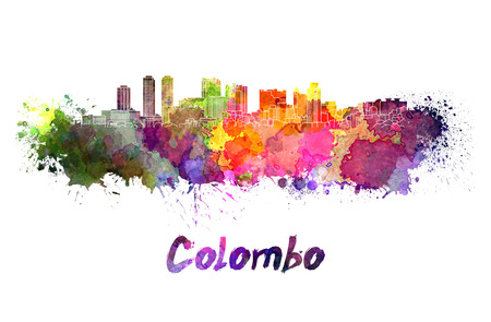 colombo: Colombo skyline in watercolor splatters Stock Photo