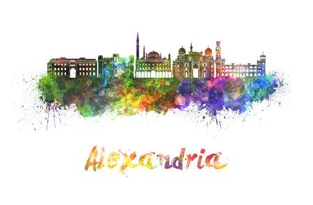 alexandria egypt: Alexandria skyline in watercolor splatters