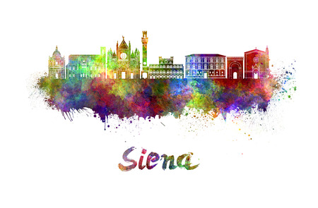 siena italy: Siena skyline in watercolor splatters