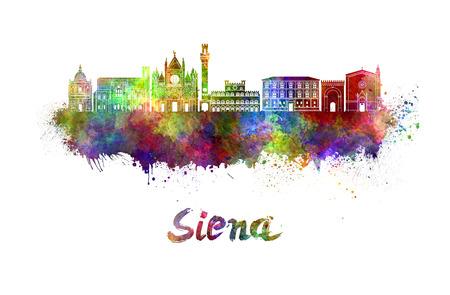 Siena skyline in watercolor splatters