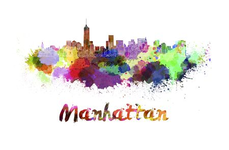 manhattan skyline: Manhattan skyline in watercolor splatters Stock Photo