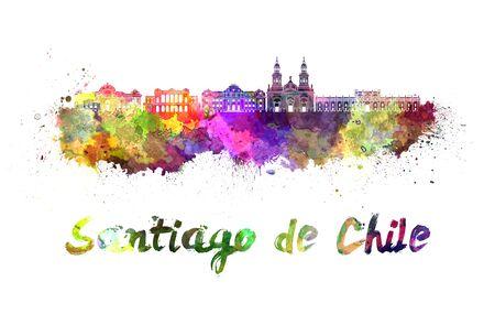 monumento: Santiago de Chile en el horizonte de las salpicaduras de acuarela Foto de archivo
