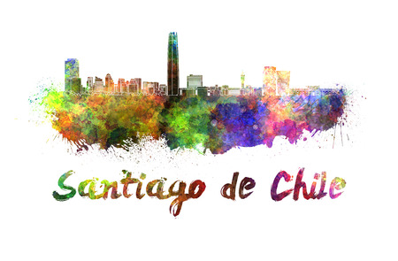 santiago: Santiago de Chile skyline in watercolor splatters