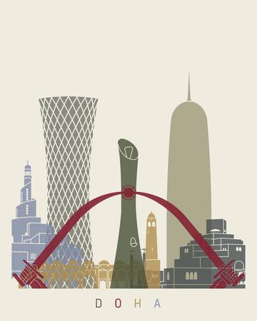 doha: Doha skyline poster in editable vector file Illustration