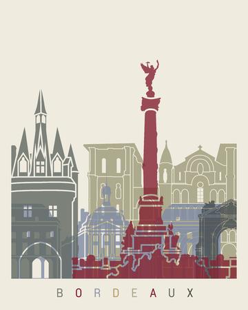 Bordeaux skyline poster in editable vector file Illustration