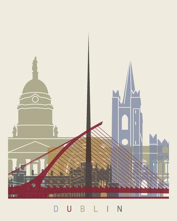 dublin: Dublin skyline poster in editable vector file Illustration