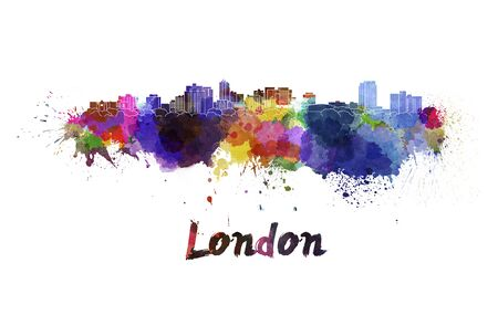 London skyline in watercolor splatters