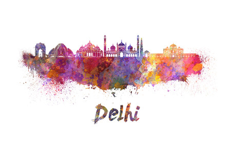 Delhi skyline in watercolor splatters