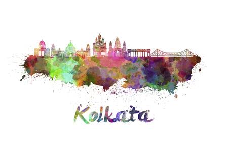 kolkata: Kolkata skyline in watercolor splatters