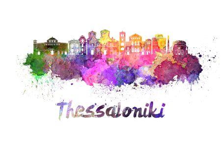 thessaloniki: Thessaloniki skyline in watercolor splatters