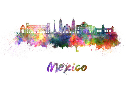 Mexico City skyline in watercolor splatters