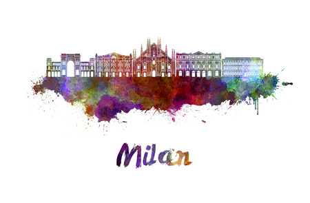 Milan skyline in watercolor splatters