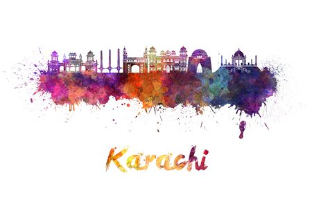 karachi: Karachi skyline in watercolor splatters Stock Photo