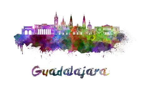 guadalajara: Guadalajara skyline in watercolor splatters