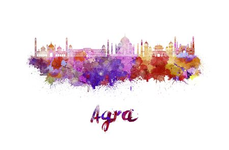 agra: Agra skyline in watercolor splatters