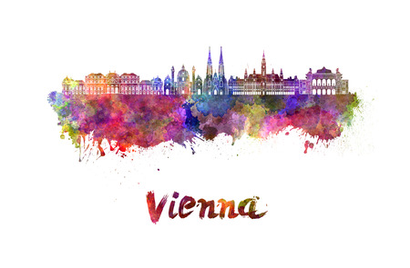 Vienna skyline in watercolor splatters