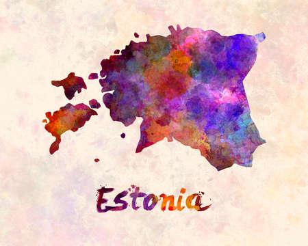 estonia: Estonia in watercolor Stock Photo
