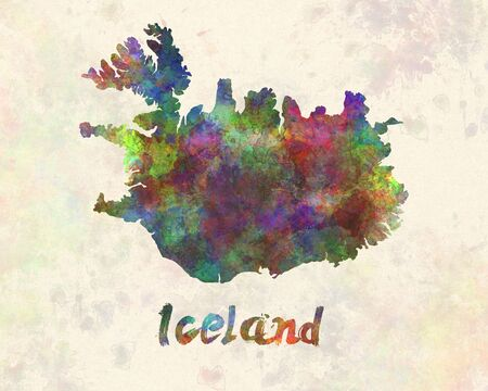 landlocked country: Iceland in watercolor