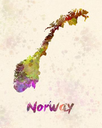 norway: Norway in watercolor Stock Photo