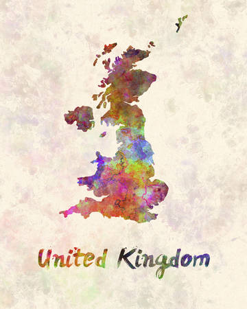 of the united kingdom: United Kingdom in watercolor Stock Photo