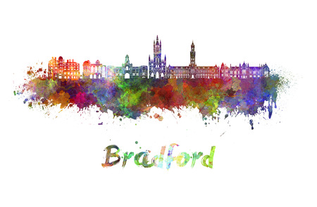 Bradford skyline in watercolor splatters Stock Photo