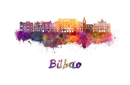 bilbao: Bilbao skyline in watercolor splatters