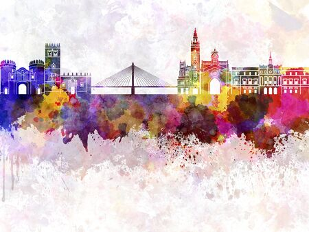 badajoz: Badajoz skyline in watercolor background