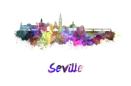 Seville skyline in watercolor splatters