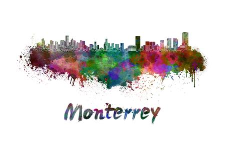 monterrey: Monterrey skyline in watercolor splatters