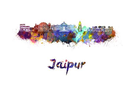 monumento: horizonte de Jaipur, en salpicaduras de acuarela