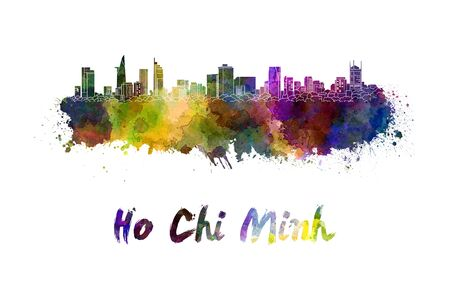 chi: Ho Chi Minh skyline in watercolor splatters