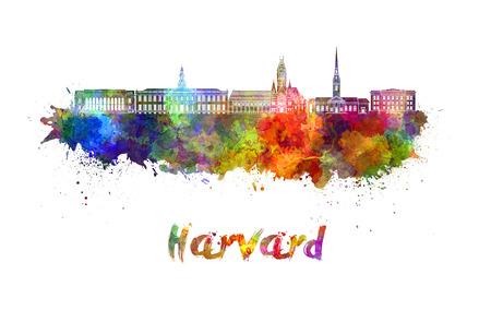 水彩の飛び散りでハーバード スカイライン 写真素材