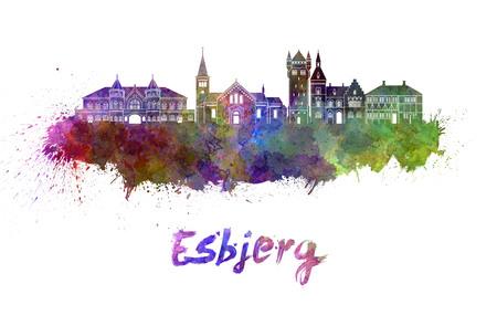 esbjerg: Esbjerg skyline in watercolor splatters