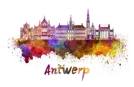monuments: Antwerp skyline in watercolor splatters with clipping path