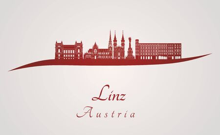 linz: Linz skyline in red and gray background in editable vector file