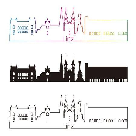 linz: Linz skyline linear style with rainbow in editable vector file
